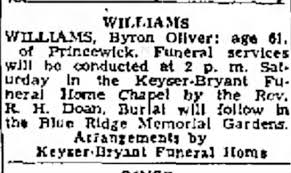 Funeral services and burial for Byron O. Williams - Newspapers.com