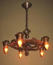 1920s cb rogers five light fixture in original colors and patina 3