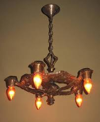 revival 1920s cb rogers five light fixture in original colors and patina for