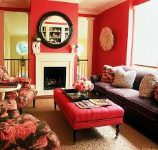 Very pretty room --- Deep rose pink and chocolate brown living room.