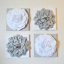 white flower wall decor set of four gray and hangings x canvases art 3d white flower wall decor