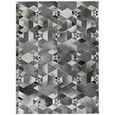 industrial style high end gray cowhide leather stitching handmade real fur rug living room bedroom luxury section modern carpet carpet installation