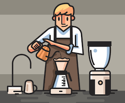 The word barista comes from italian, where it means a male or female bartender who typically works behind a counter, serving hot drinks (such as espresso). Barista In Brown Apron Vector Vector Art Graphics Freevector Com