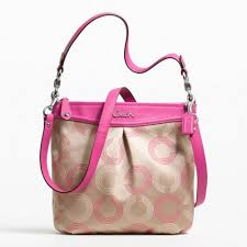 The Features Coach Ashley Signature Dotted Op Art Hippie Hobo Crossbody  Khaki Fuchsia -