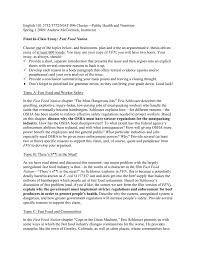 final in class essay fast food nation