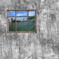 Windows Frame Op Cement Muur En Uitzicht Op Tropische Zee