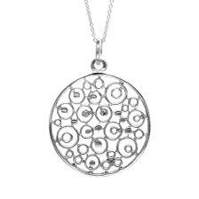 details about silverly 925 sterling silver filigree circle pendant necklace