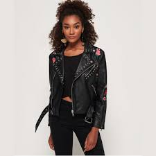 superdry georgia studded biker jacket thumbnail 0