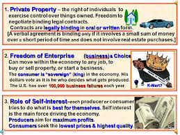 enterprise another for capitalism an economic system  5 markets prices dom of enterprise choice active but limited government role of self interest competition privateproperty