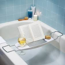 Bath caddy with book holder AND wine glass holder