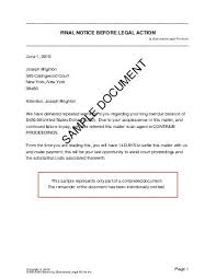 Legal Action Letter Format - Pacificstation.co