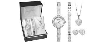 sekonda 2528g stone set watch bracelet necklace and earrings gift set w32163