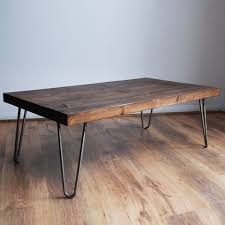 Handmade Chunky Solid Wood Coffee Table with Bare Steel Hairpin Legs  Dark  Wood Finish Style