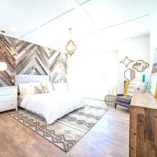 wood panel accent wall bedroom horizontal paneling contemporary with area rug artwork