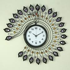 wrought iron wall clock peacock