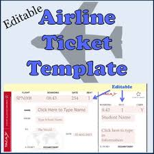 Fake Plane Ticket Template