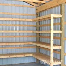 making shelves for shed great idea for corner shelves to create storage in a garage or