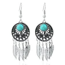 vintage style chandelier earrings vintage style dream catcher silver and turquoise feather chandelier earrings vintage inspired