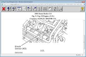 where is the knock sensor located on the 3 2l 2001 isuzu rodeo attached image