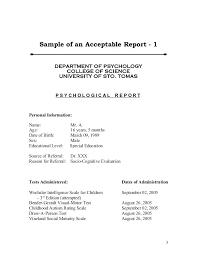 Assessment Example Psychological Assessment Example Psychological Assessment Example Is ...