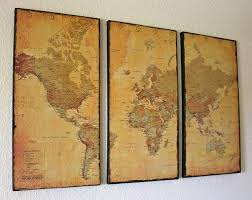 3 panel vintage world map canvas wall art by just two crafty sisters great idea on 3 panel wall art diy with 3 panel vintage world map canvas wall art by just two crafty sisters