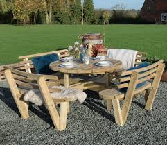 round outdoor table. Fine Table Grange Round Garden Table With Backrests On Outdoor