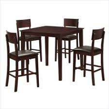 walker edison stanley 5 piece wood pub table set in espresso
