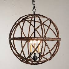 twig sphere chandelier or pendant light shades of light wood and chrome barrel sphere chandelier