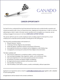 ganado advocates linkedin career opportunity we are seeking to engage the services of a full time compliance support officer