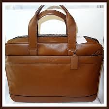 get ations coach men s leather hamilton commuter briefcase laptop bag saddle