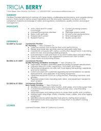 Journeyman Plumber Resume Objective Commercial Toreto Co Sample Cv