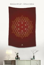 red gold asanoha star tapestry wall