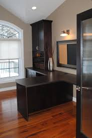 double desk home office. Attractive Office Décor With Exciting Shared Double Desk : Sleek Laminate Floor Paired Brown Wall Paint Also T Black Design Home