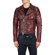 designer studded motorcycle red leather jacket
