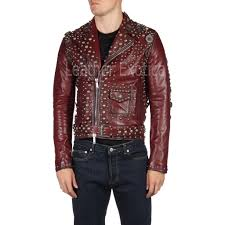 designer studded motorcycle red leather jacket