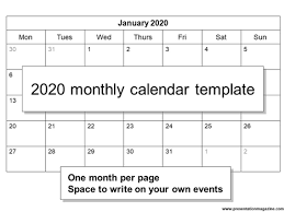 Free 2020 Monthly Calendar Template Free 2020 Monthly Calendar Template