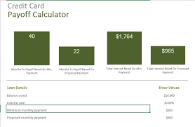 credit card payoff calculator excel excel template excel templates for every purpose
