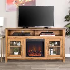 58 in barn wood console wood highboy fireplace media tv stand