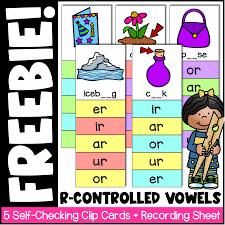 Vocabulary worksheets > phonics > phonics ar er ir or ur. R Controlled Vowels Clip Cards And Worksheet Freebie Spark Esl