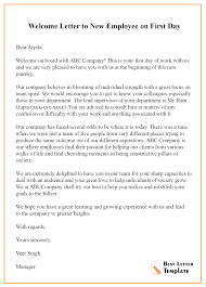 Welcome Letter Template Welcome Letter To New Employee On First Day Best Letter