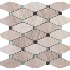 bayview elongated octagon 12 in x 12 in x 10 mm glass metal mesh