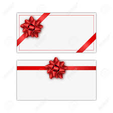 Holiday Gift Card Template Set Of White Holiday Gift Card With Red Ribbon And Bow Template