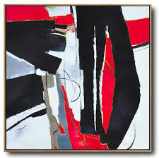 hand made abstract art oversized red contemporary painting on canvas acrylic painting large wall art red black white etc