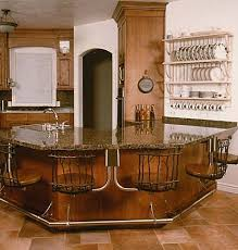 A kitchen island with stools.