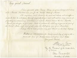 file john quincy adams accreditation as ambador to the netherlands by george washington in 1794 jpg