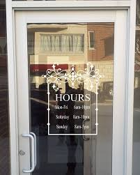 Hours Of Operation Design Store Front Sign With Your Hours Vinyl Decal Store Sign