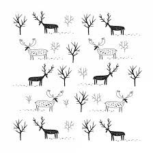 Temporary Tattoo A Herd Of Small Deer Black And White