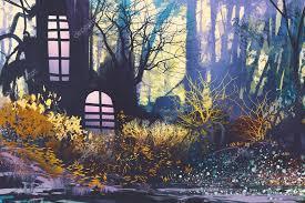 Paysage Fantastique Avec Maison En Peinture Trunk.illustration Arbre U2014  Image De ...