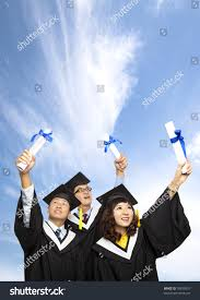 happy group graduation students holding their stock photo  happy group of graduation students holding their diploma