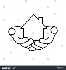 Linear Home Loans House Hands Linear Icon Home Loan Stock Vector Royalty Free